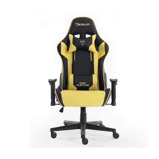 SILLA GAMER OCELOT COLOR AMARILLO CON NEGRO BASE AJUSTABLE